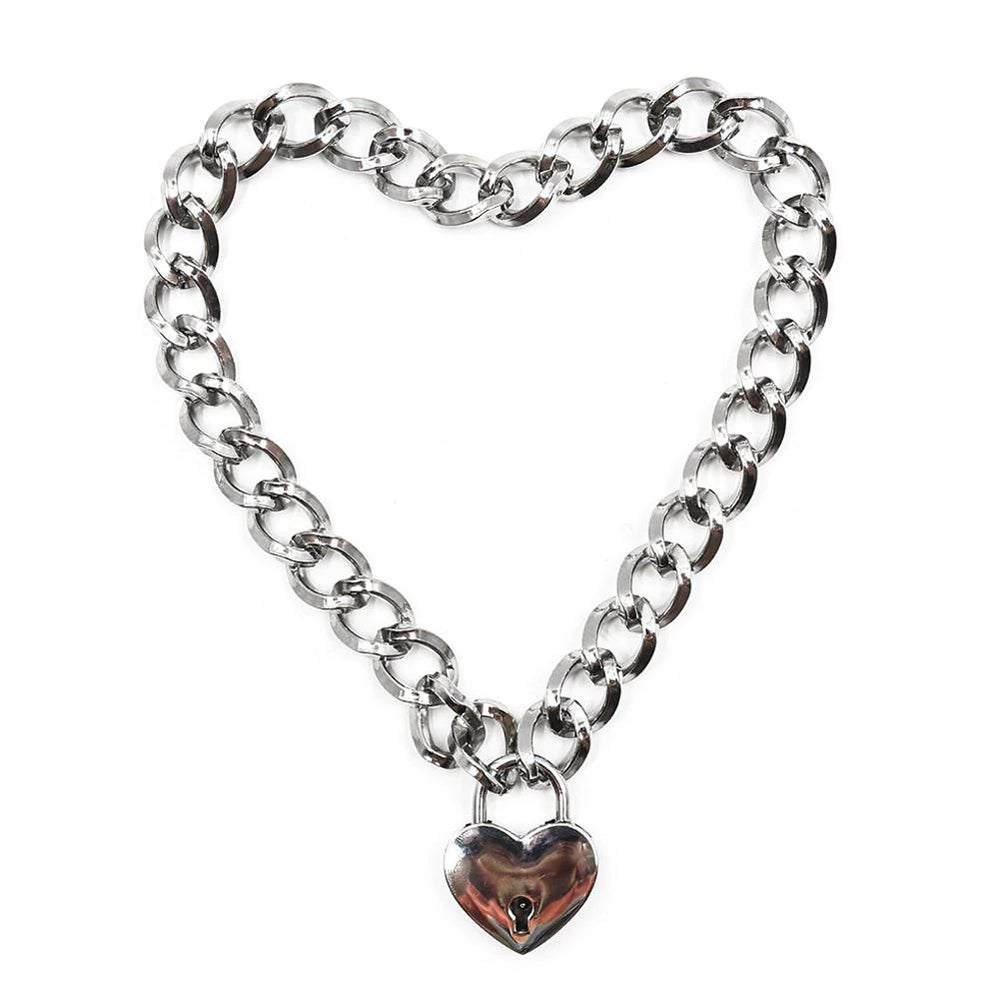 Image of Sweetheart heart padlock chunky necklace