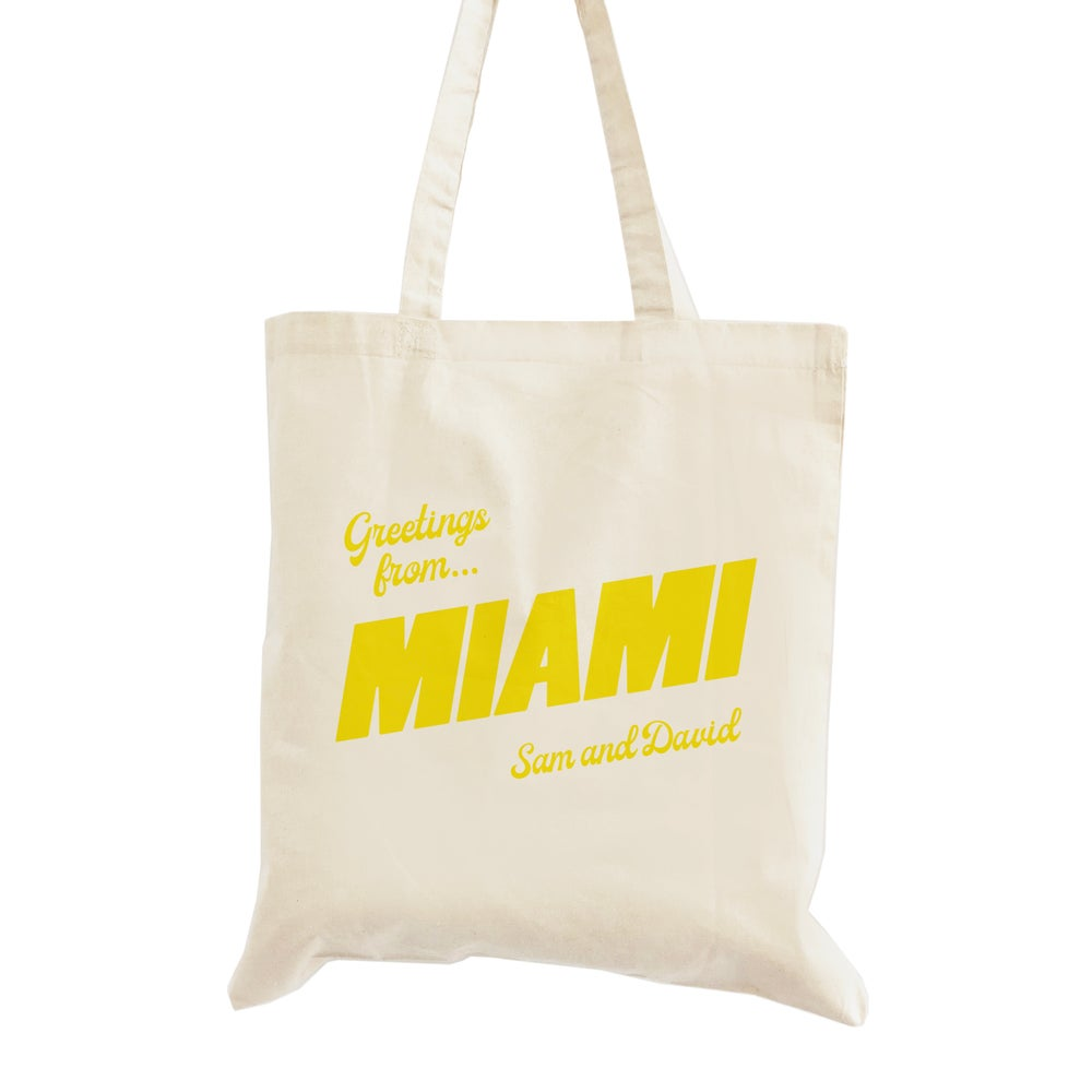 Image of Customizable Greetings From Miami Wedding Welcome Tote Bag