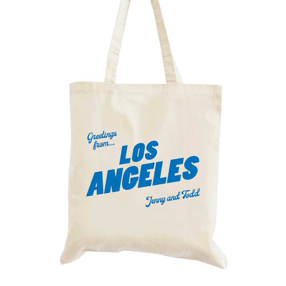 Image of Customizable Greetings From Los Angeles Wedding Welcome Tote Bag