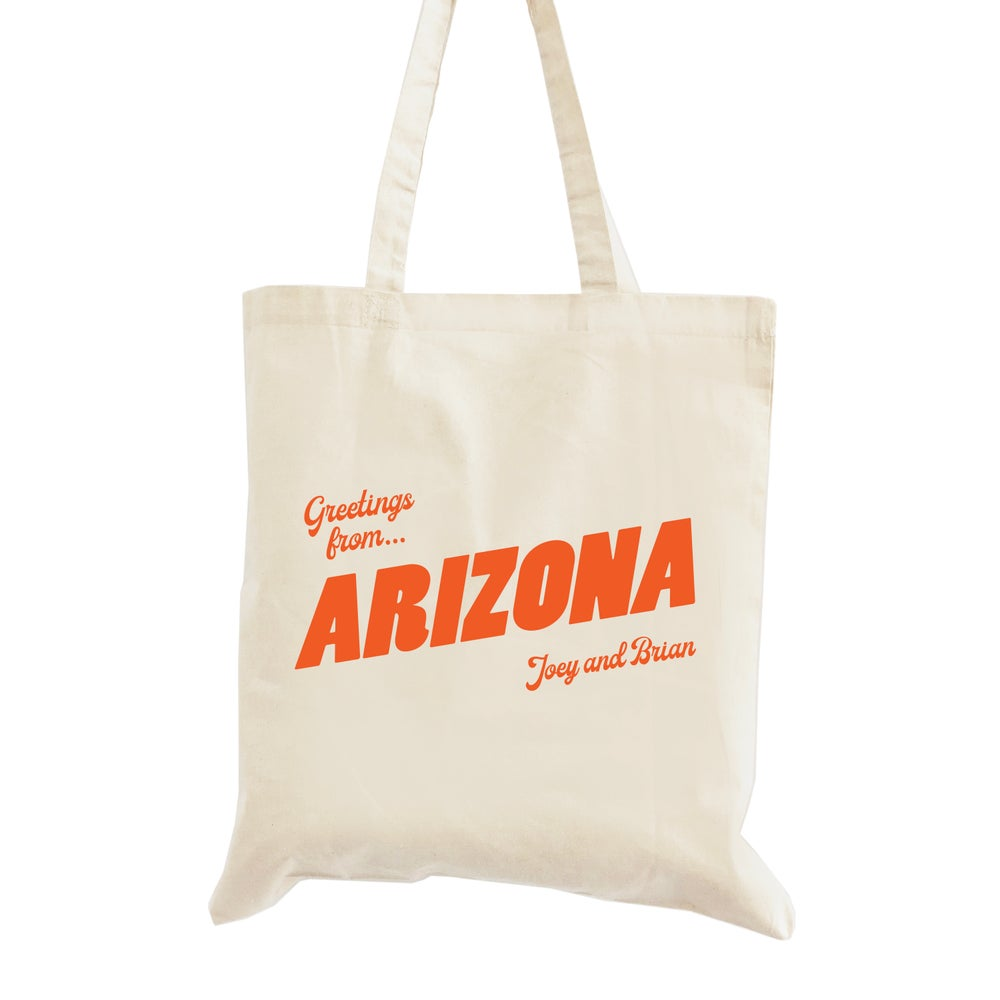 Image of Customizable Greetings From Arizona Wedding Welcome Tote Bag