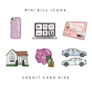 Image of Mini Bills Icons - Credit Card Sized