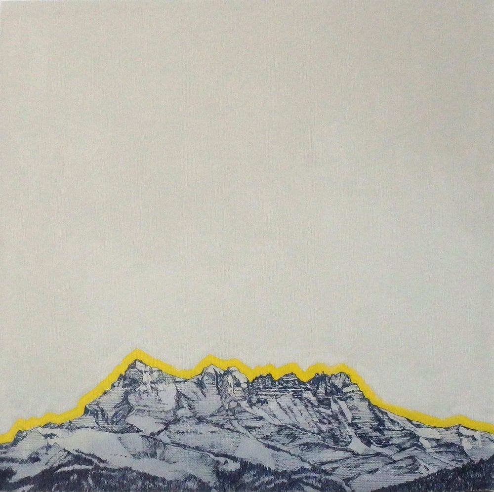 Image of ART painting Dents du Midi 40x40 yellow