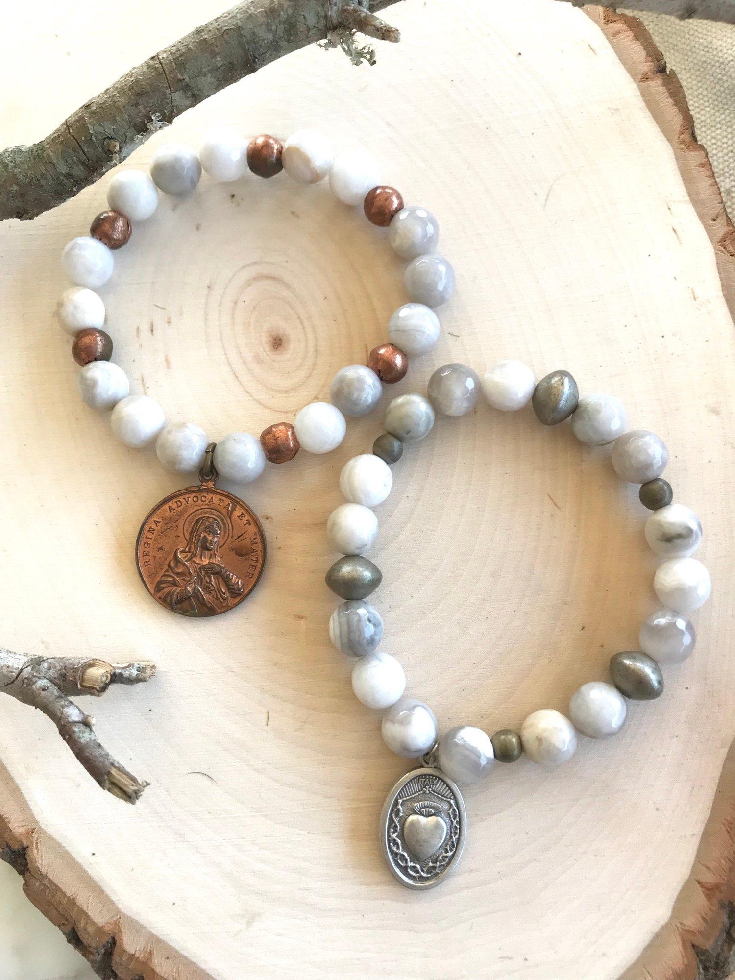 Image of Vintage Religious Medal Bracelets