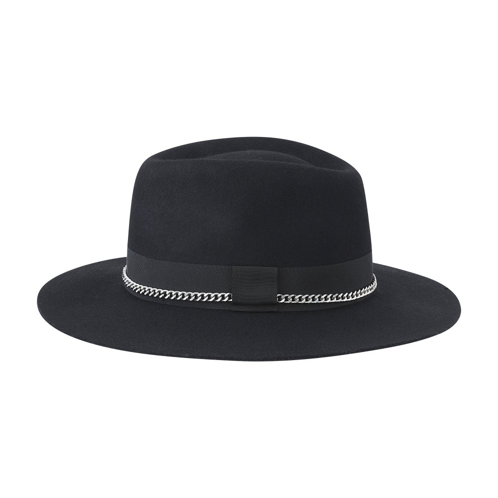 Image of BLACK or GREY FEDORA HUASO Steel MIX BLACK & SILVER