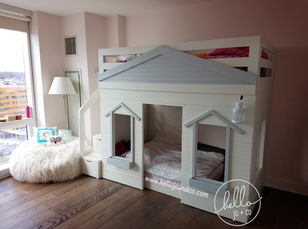 Image of Sleek Solid Wood Cottage Loft Bed