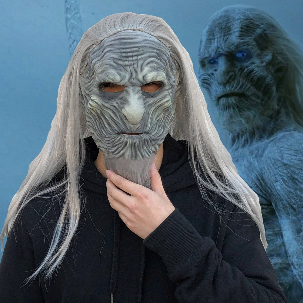 Image of Game of Thrones Season 8 The White Walkers Night King Costume Mask Cosplay Prop