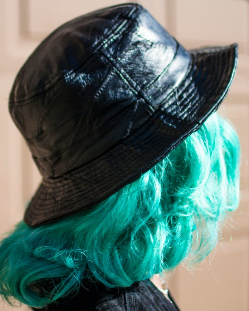 Image of Back leather hat