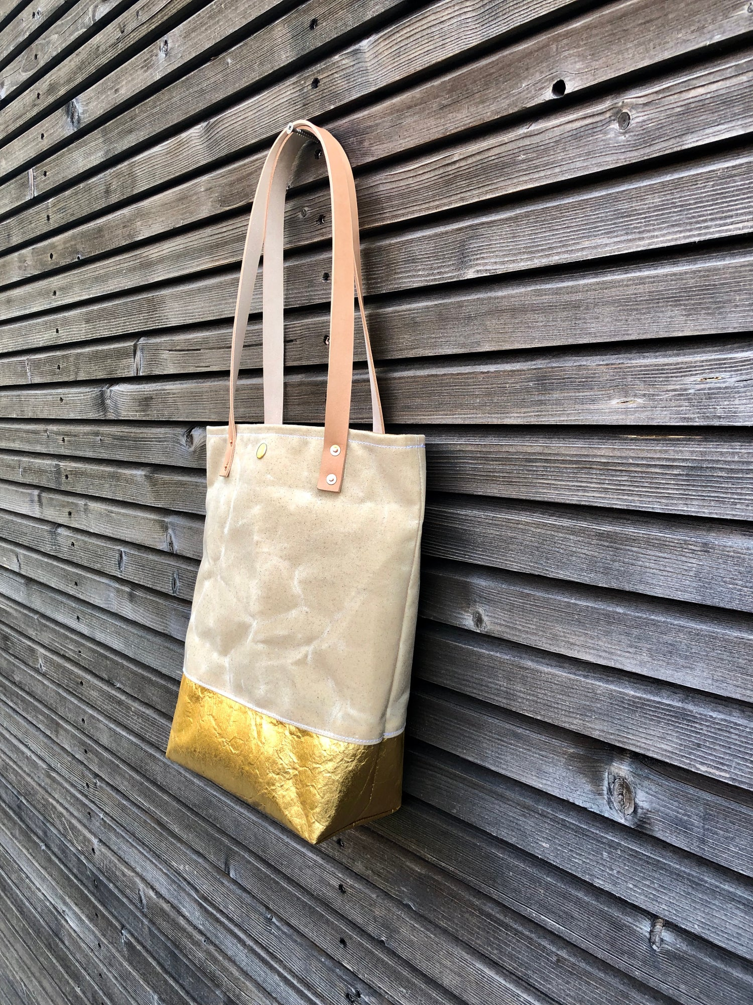Image of Waxed canvas and Piñatex™ tote bag - eco friendly simple tote bag - tote bag with golden bottom