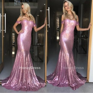Image of Brilliant Lilac Sequins Off-the-Shoulder Mermaid Long Prom Gown With Sweep Train