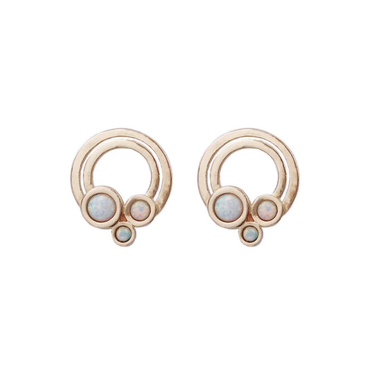Image of Small Rainbow Earrings with Opal
