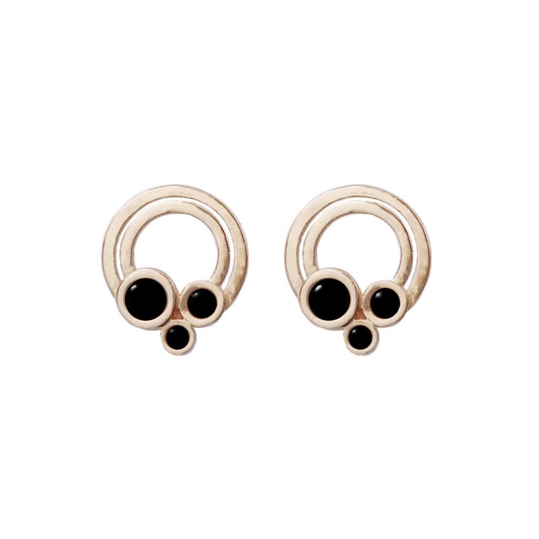 Image of Small Rainbow Earrings with Black Onyx