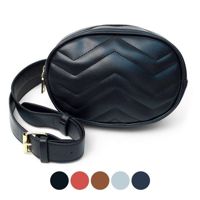 Image of Ladies Oval Quilted Crossbody Bag