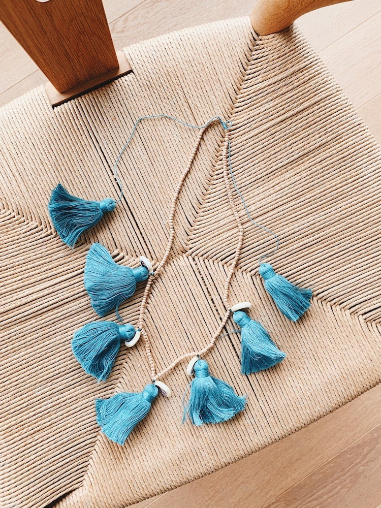 Image of Beaded Tassel and Shell Necklace