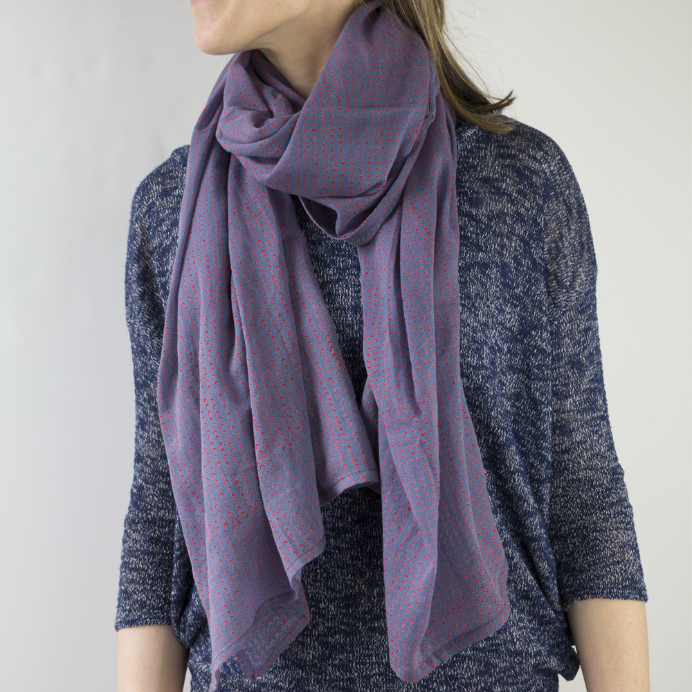 Image of Beckett Blue Block Printed Scarf