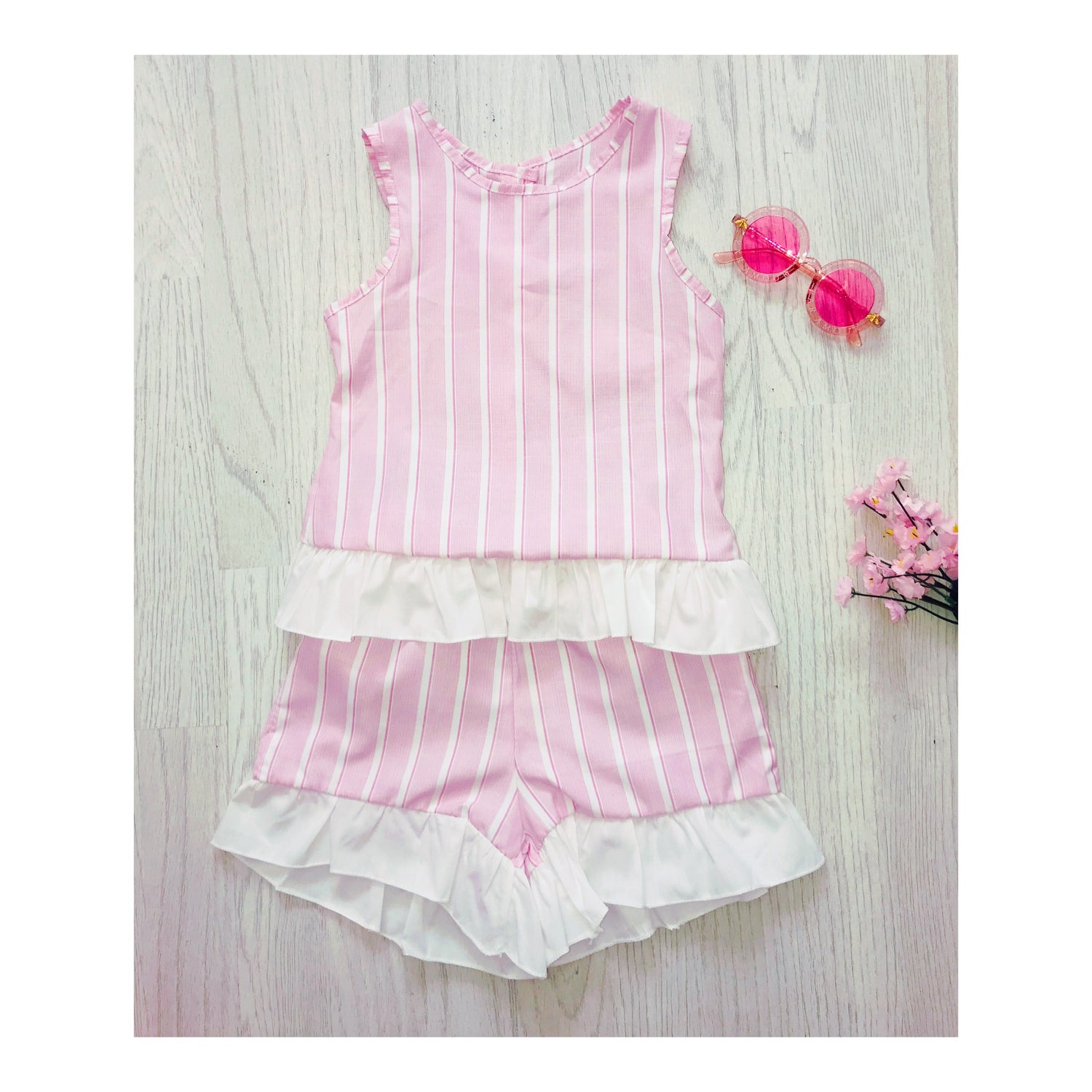 Image of Pink Pinstriped Set