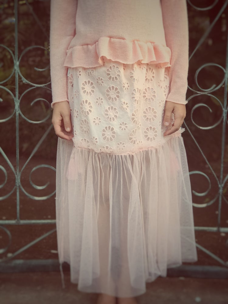 Image of 'haze' maxi skirt in peachy