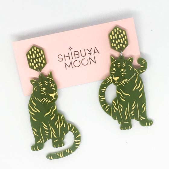 Image of Tiger Twins Dangles (Olive Green)