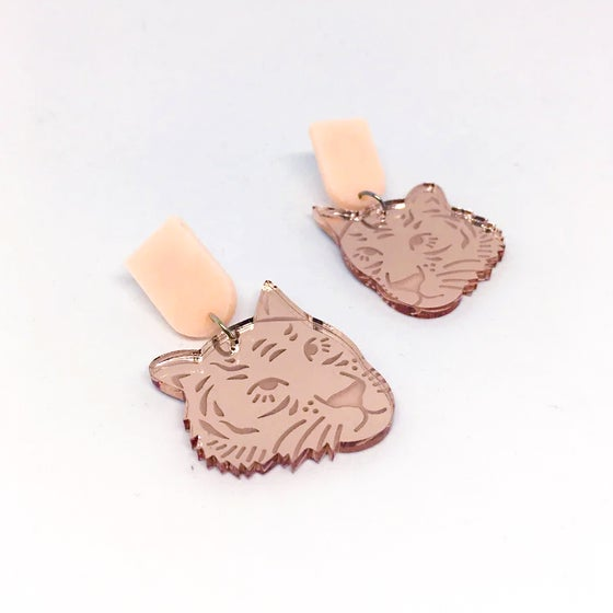 Image of Tiger Face Dangles (Rose Gold/Peach-Pink)