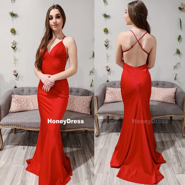 c6e92effb6f5 Long Red Spaghetti-Strap V-Neck Mermaid Satin Prom Dress With Criss-Cross  Straps