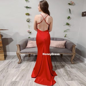 Image of Long Red Spaghetti-Strap V-Neck Mermaid Satin Prom Dress With Criss-Cross Straps