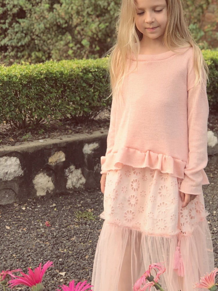 Image of 'frilly' knit top in peachy