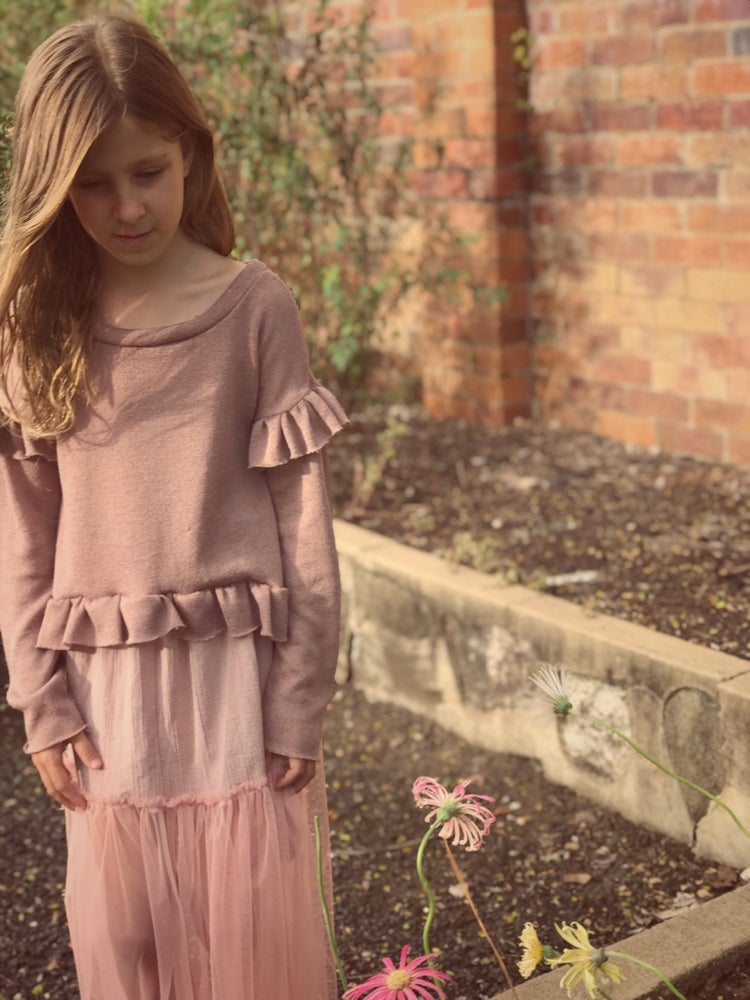 Image of 'frilly' knit top in dusty rose