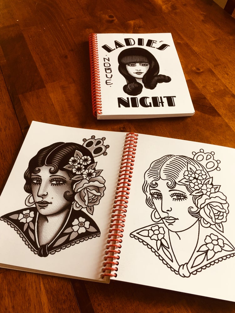 """Image of Chuco and Todd Nobles """"Ladies Night"""" Travel Tattoo line work book."""