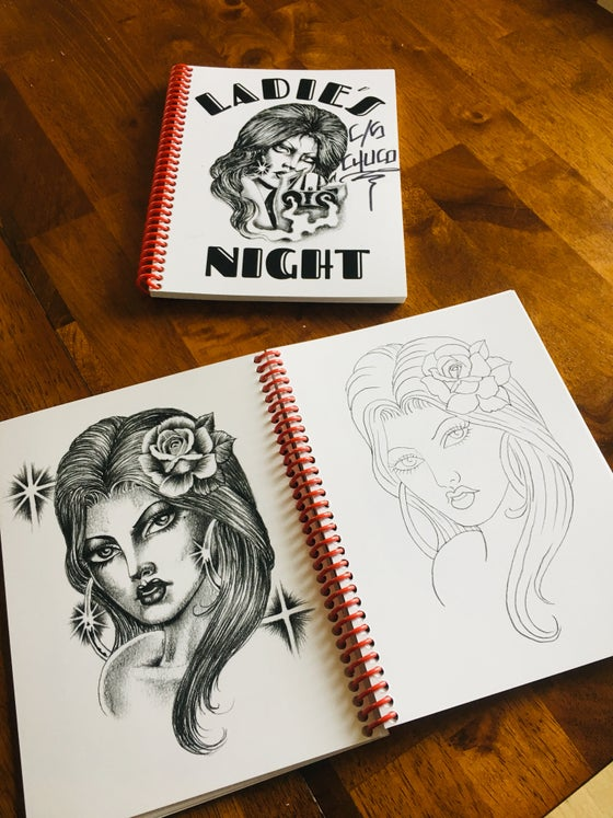 "Image of Chuco and Todd Nobles ""Ladies Night"" Travel Tattoo line work book."