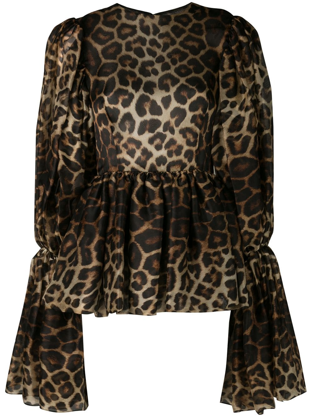 Image of Leopard Print Bell Sleeve Blouse