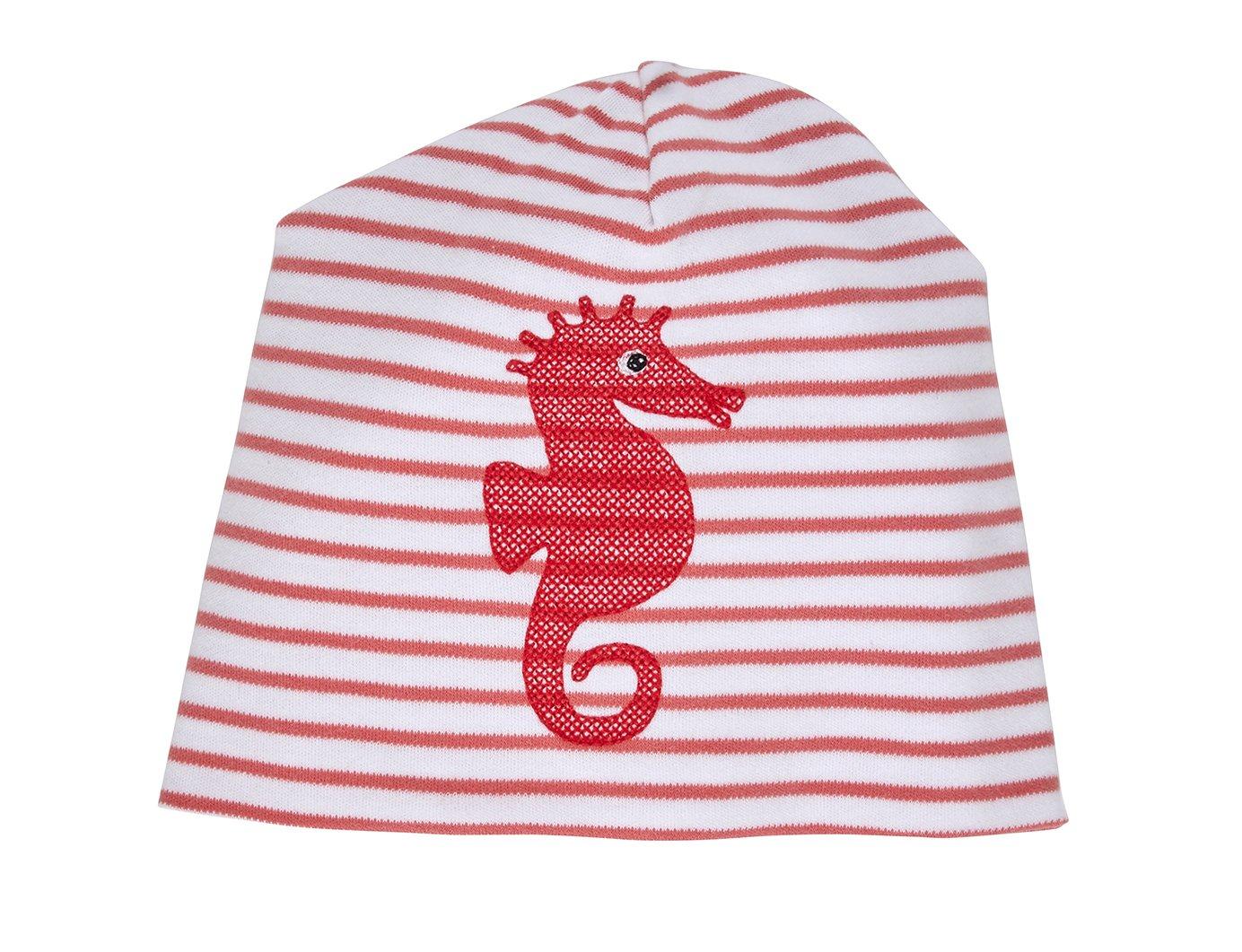 Image of Mütze rot gestreift mit Seepferdchen