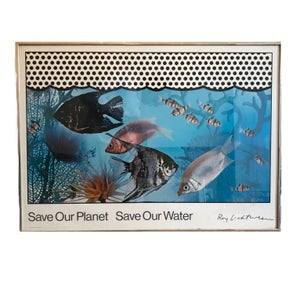 """Image of Roy Lichtenstein """"Save Our Planet Save Our Water"""" Lithograph 1971"""