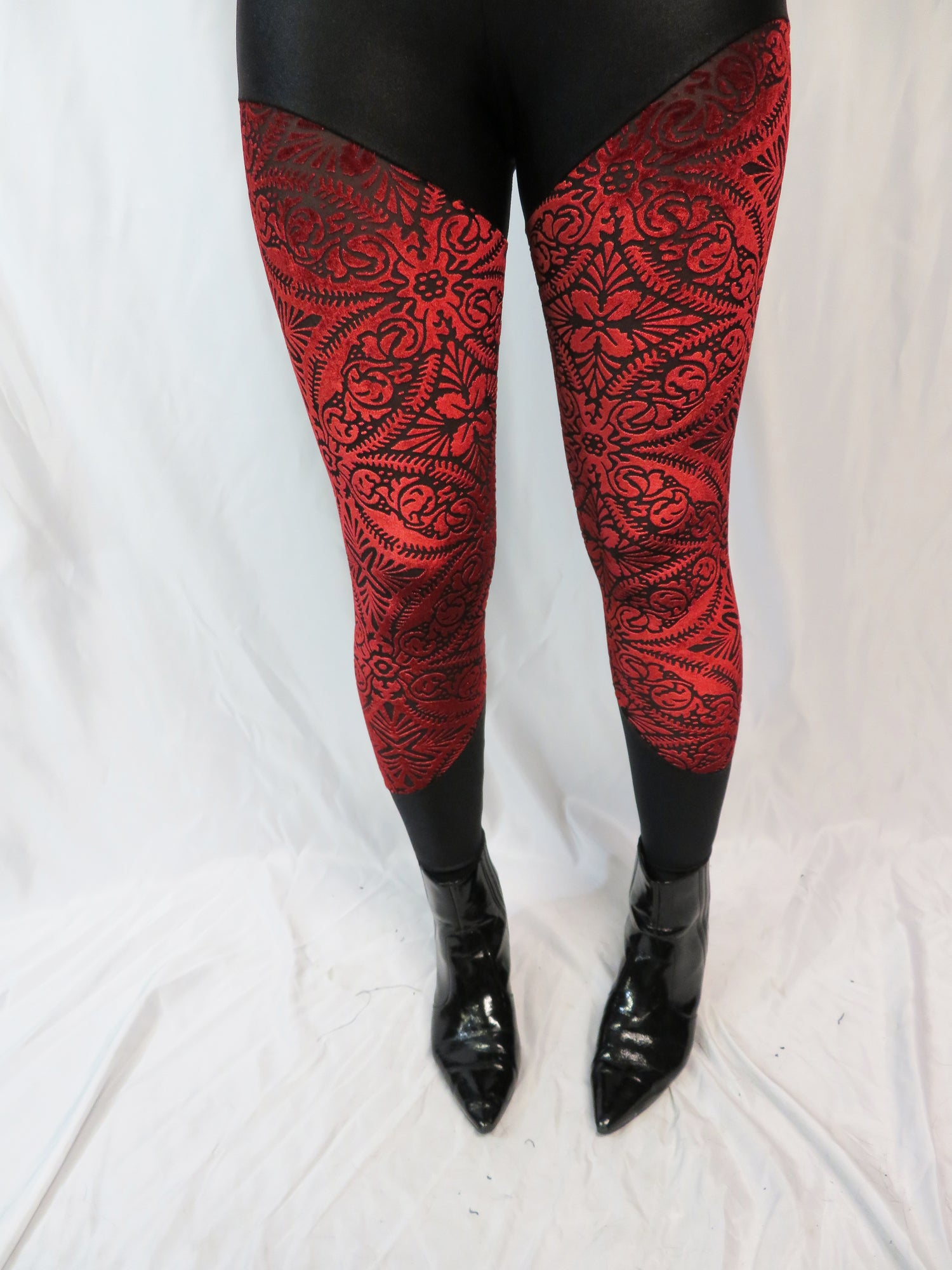 Image of Red Burn out Velvet leggings