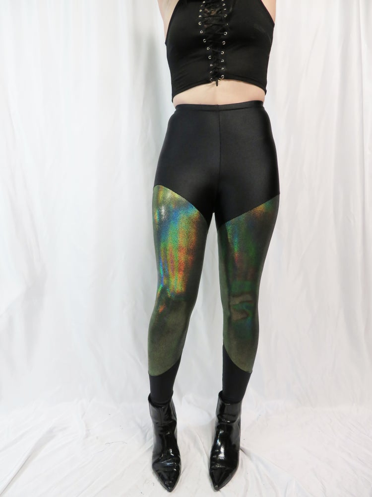 Image of Olive Reflective Foil all over on Black Leggings