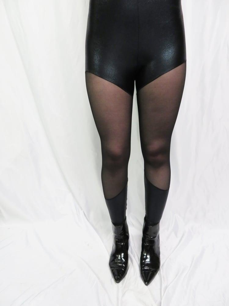 Image of Black sheer and wet look leggings