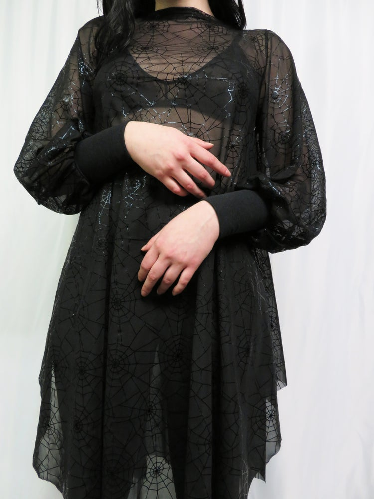 Image of Spiderweb Mesh Bishop Sleeve Dress
