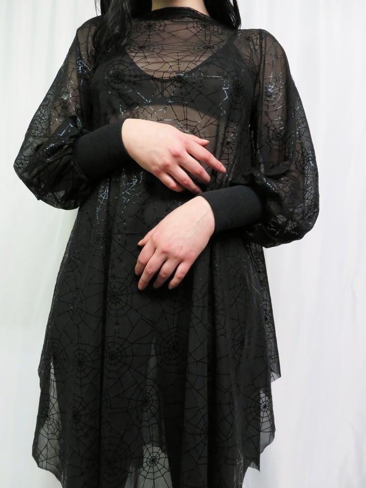 Image of Spiderweb Mesh Bishop Sleeve Dress