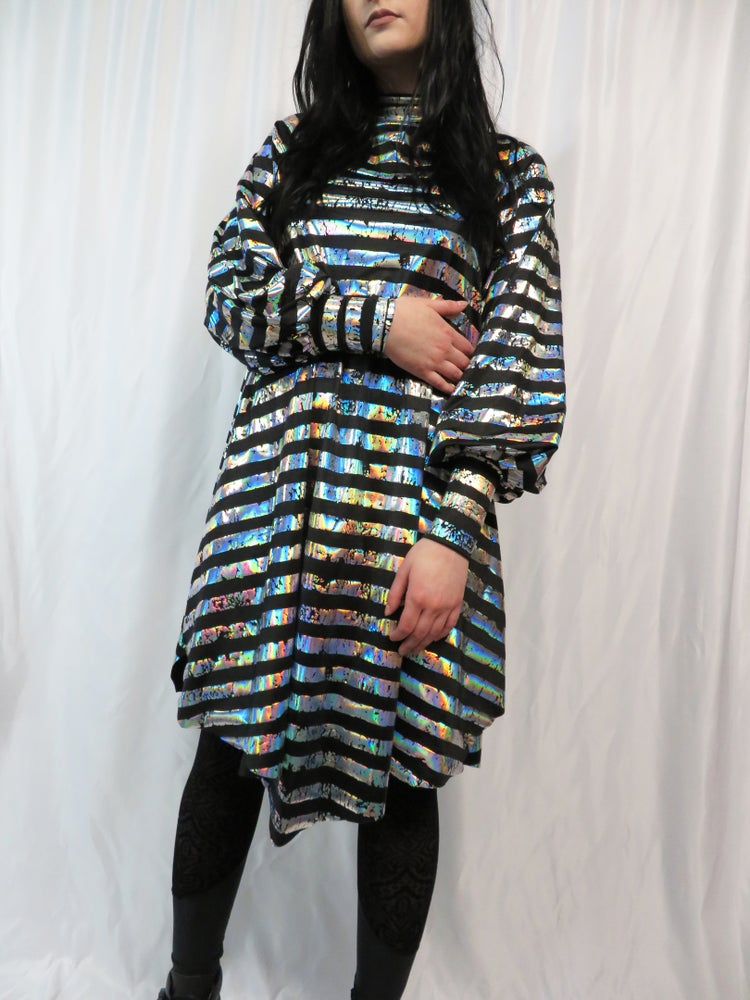 Image of Silver Holographic Stripes on Black Bishop Sleeve Dress