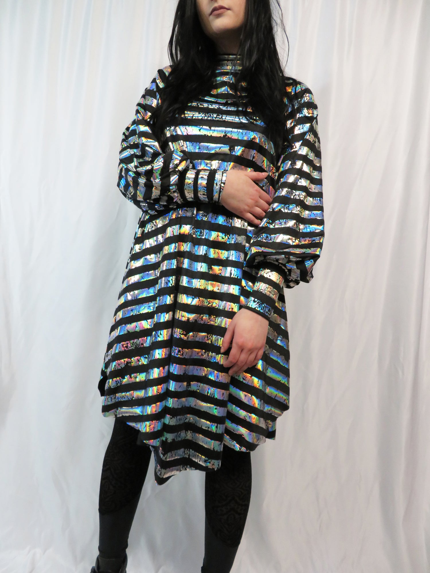 Image of Silver Holographic Stripes on Black Bishop Sleeve Dress