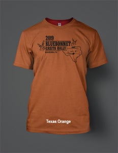 Image of 2019 Bluebonnet Rally T-Shirt with Black Logo - Five Colors Available!