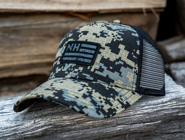 Image of Camo NH Flag Trucker hat