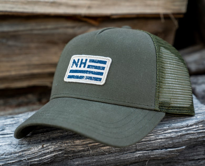 Image of Military Green NH Flag Trucker hat