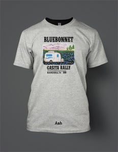 Image of 2019 Bluebonnet Rally T-Shirt with Full-Color Casita in Bluebonnet Field on Ash Shirt