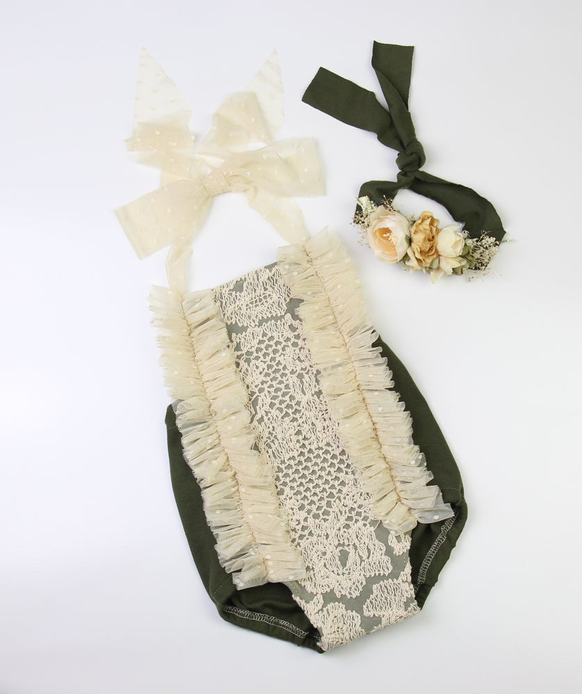 Image of Sitter Romper & Luxe Tieback Set - a