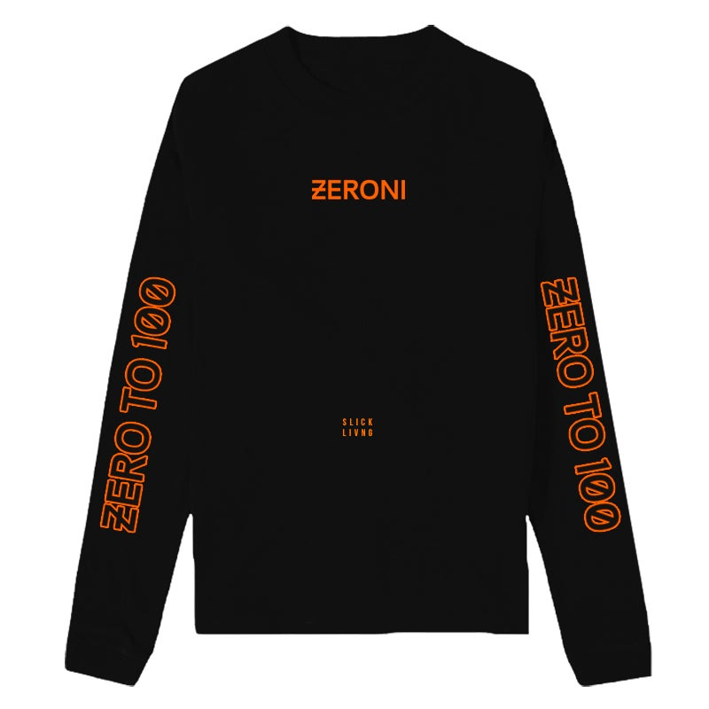 Image of ZERO TO 100 LONG SLEEVE BLACK TEE | CHILDHOOD HERO EXCLUSIVE RELEASE