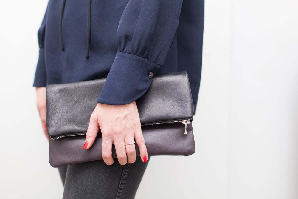 Image of Leather Fold Over Zip Clutch