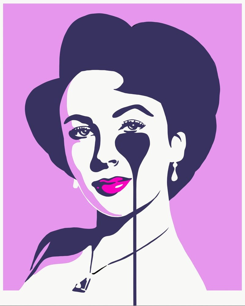 "Image of PURE EVIL ""LIZ LOVES RICHARD"" - LILAC LTD ED 100 - 70CM X 85CM"
