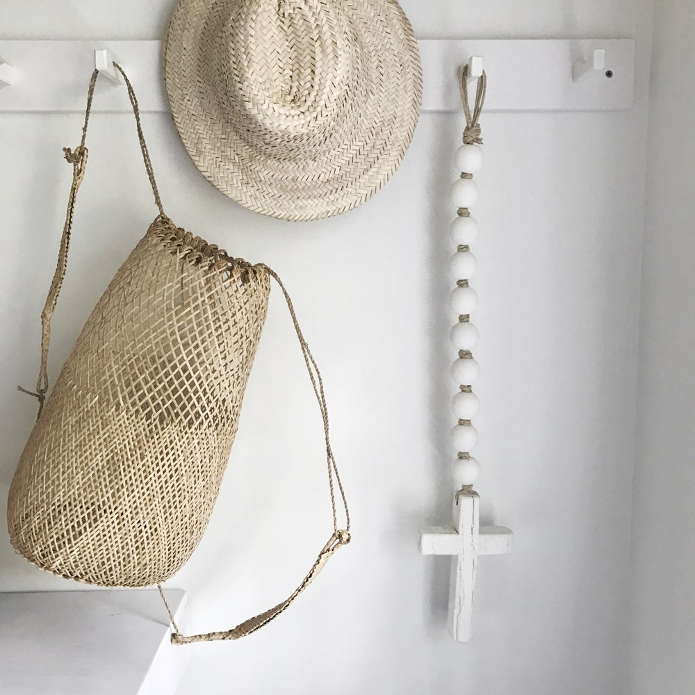 Image of Knotted Beads + Cross - Matte White