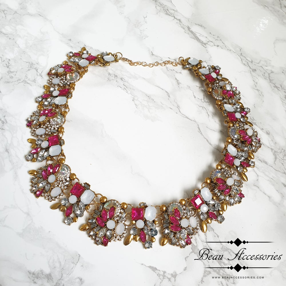 Image of Fuschia Pink Velencia Statement Necklace