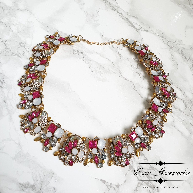 Image of Fuschia Pink Velencia Statement Necklace