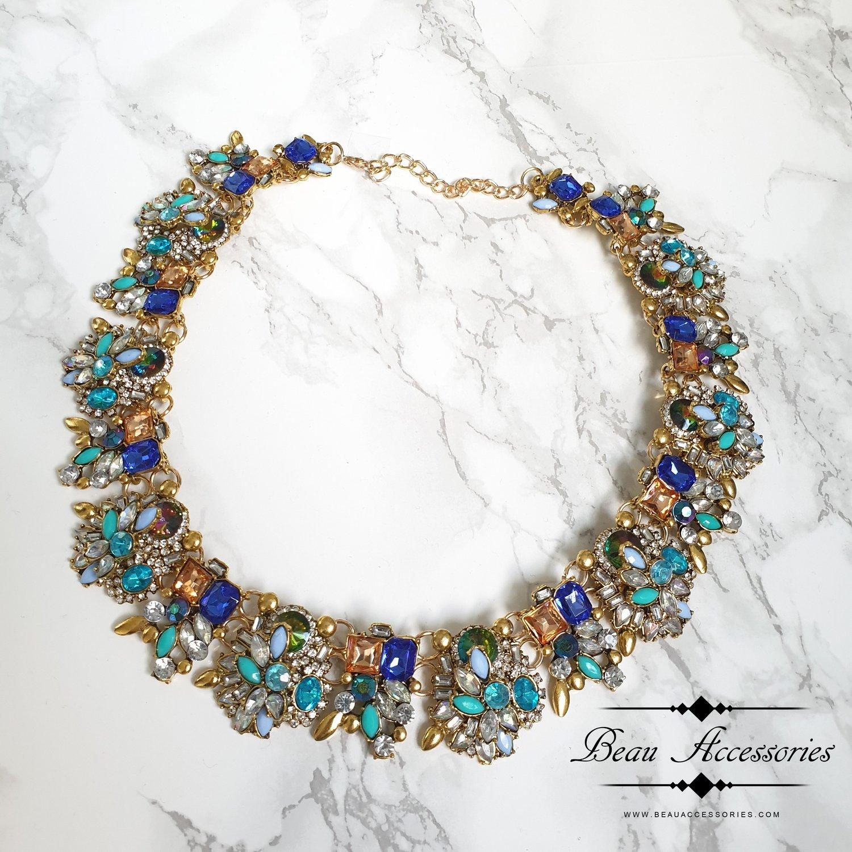Image of Blue Velencia Statement Necklace